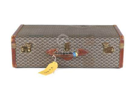 Goyard Goyardine Suitcase 75, 1970s, hard sided covered in patterned fabric with brown leather