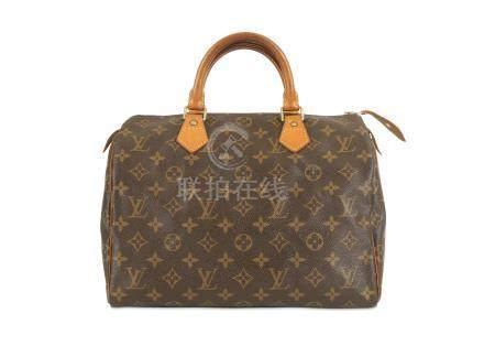 Louis Vuitton Monogram Speedy 30, c. 1999, monogram canvas with leather trim and gold tone hardware,