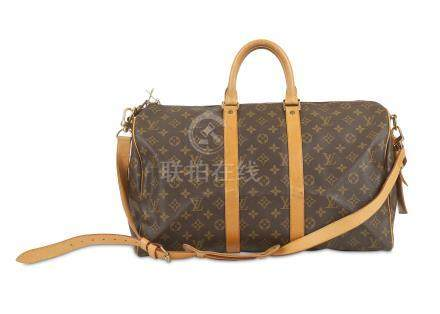 Louis Vuitton Monogram Keepall Bandouliere 45, c. 1996, monogram canvas with leather trim and gold