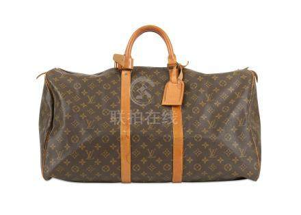 Louis Vuitton Monogram Keepall 55, c. 1989, monogram canvas with leather trim and gold tone