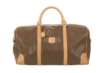 Celine Macadame Travel Bag, 1990s, brown printed canvas with brown leather trim, 40cm wide, 26cm