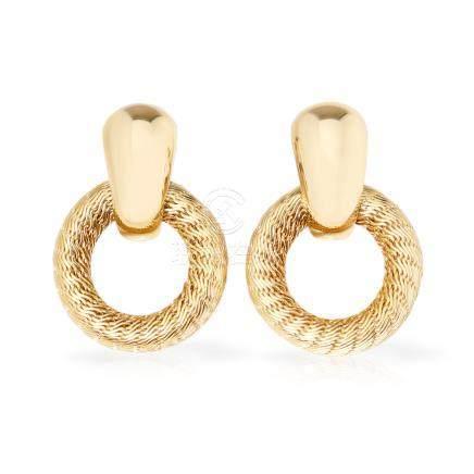Tiffany & Co. 18k Yellow Gold Woven Hoop Design Clip-On Earrings