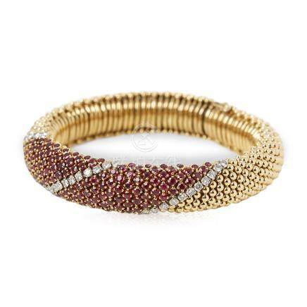 Van Cleef & Arpels 18k Yellow Gold Ruby & Diamond Vintage Statement Bracelet
