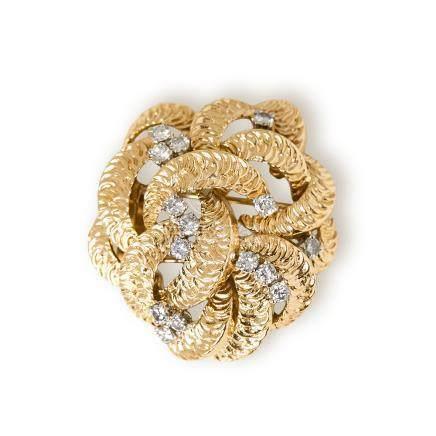 Boucheron 18k Yellow Gold Diamond Vintage Flower Design Brooch