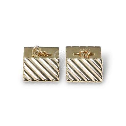 Tiffany & Co. 14k Yellow Gold Stripe Design Retro Cufflinks