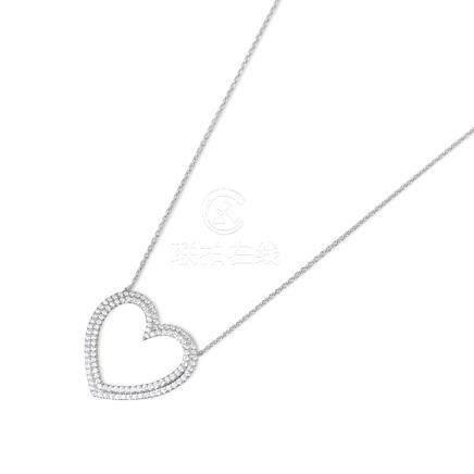 Tiffany & Co. Platinum Diamond Heart Metro Pendant Necklace