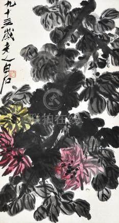 齐白石 菊花 挂轴 设色纸本