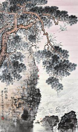 钱松嵒 松鹤长寿图 挂轴 设色纸本