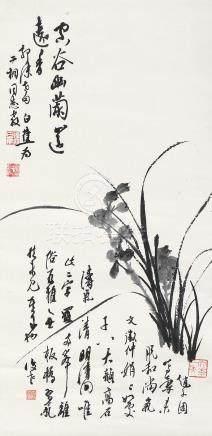 白蕉 兰花 挂轴 水墨纸本