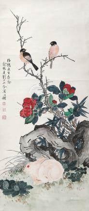 俞致贞 刘力上 花鸟 挂轴 设色纸本
