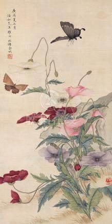金城 花蝶 挂轴 设色绢本