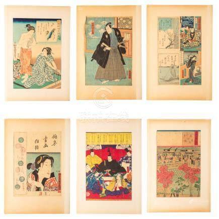 Group Antique Japanese Ukiyo-e Figures, Woodblock Prints