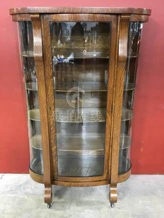 BEAUTIFUL TIGER OAK EMPIRE BOWED GLASS CHINA CABINET