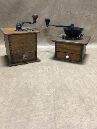 LOT OF 2 ANTIQUE COFFEE GRINDERS