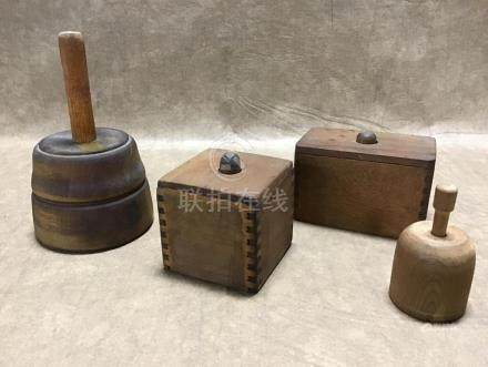 LOT OF 4 WOODEN BUTTER MOLDS
