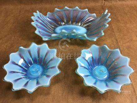 OPALESCENT BLUE CENTERPIECE AND MATCHING CANDLE STICK HOLDER
