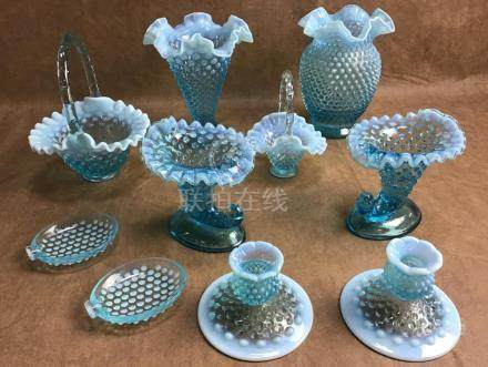 LOT OF 10 PIECES OF BLUE HOBNAIL GLASS