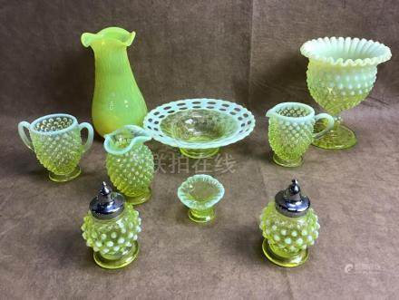 ASSORTED LOT OF YELLOW HOBNAIL AND OPALESCENCE GLASS