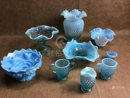 ASSORTED LOT OF BLUE HOBNAIL, OPALESCENCE, AND BLUE SWIRL GL