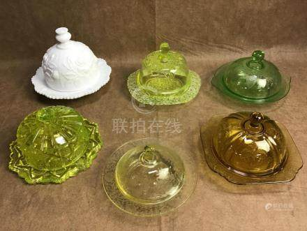 LOT OF 6 ASSORTED VINTAGE BUTTER DISHES