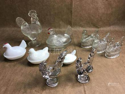 LOT OF 10 HENS AND ROOSTER CANDLESTICKS