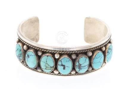 G James Vintage Block Turquoise Row Bracelet