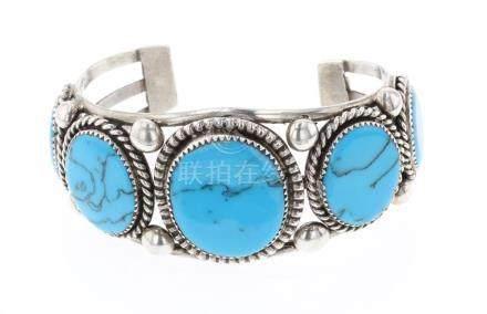 Peshlakai Vintage Block Turquoise Bracelet