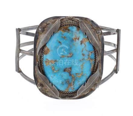 Old Pawn Turquoise Large Stone Bracelet