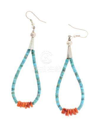 Turquoise & Spiny Oyster Loop Earrings