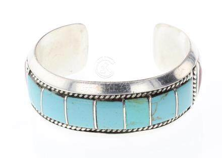 AR Vintage Block Turquoise & Coral Inlay Bracelet