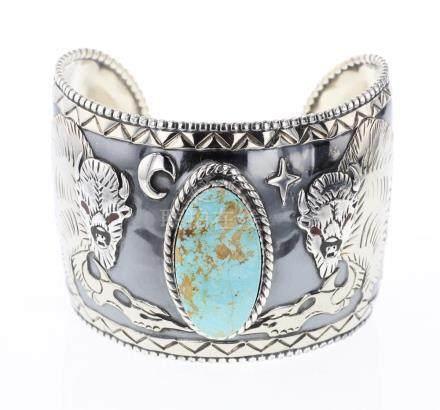 Dakota Vintage Silver & Nickel Overlay Buffalo Bracelet