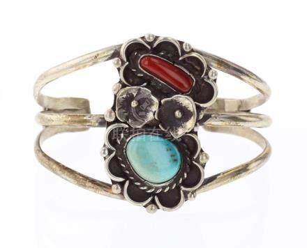 Vintage Turquoise & Coral Flower Bracelet