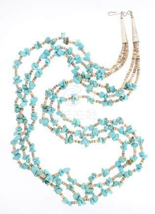 Old Pawn Turquoise Heishe Multi Strand Necklace