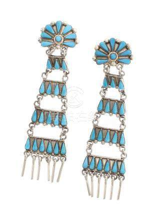 VT Old Pawn Needlepoint Zuni Turquoise Earrings