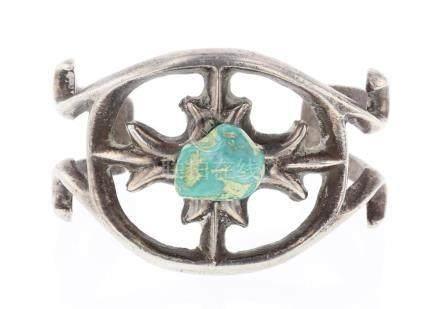 Old Pawn Freeform Turquoise Sand Cast Bracelet