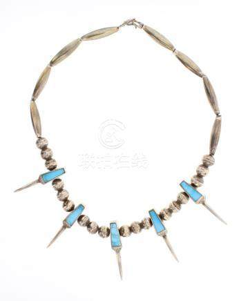 Old Pawn Inlay Turquoise Beads & Silver Claws Necklace