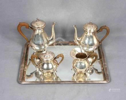 Juego de café y té en plata punzonada, formado por tetera, c