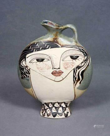 ILEGIBLE. Jarra lenticular en cerámica malagueña ALFAJAR pol