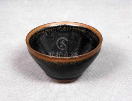Bol para té, China S.XIX, en terracota policromada. Marcas e