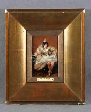 """GALLEGOS, JOSÉ (1859-1917). """"Dama"""". Óleo sobre tabla, de 18,"""