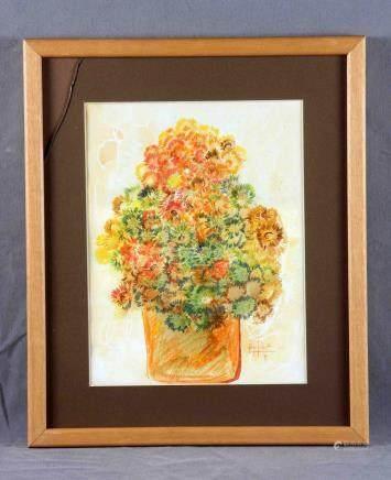 """BOYER SALVADOR, AGUSTÍN (1940). """"Flores"""". Dibujo a ceras, de"""