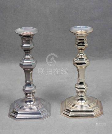 Pareja de candelabros en plata de la firma PEDRO DURÁN, con