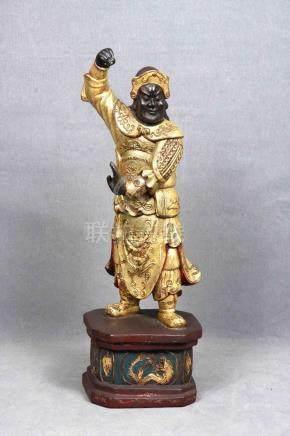 Figura de guerrero oriental en madera tipo ébano, tallada y