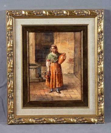 """OJEDA Y SILES, MANUEL DE (1835-1904). """"Aguadora"""". Acuarela,"""