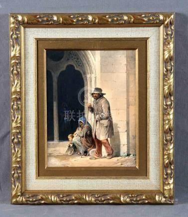 """CAMOIN, VÍCTOR (1824-1856). """"Méndigos"""". Acuarela, de 25,5x18"""