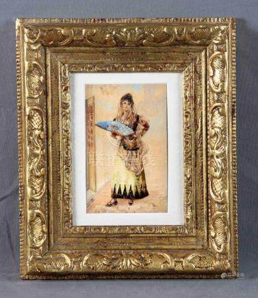 "GARCÍA RAMOS, JOSÉ (1852-1912). ""Maja"". Acuarela sobre cartó"