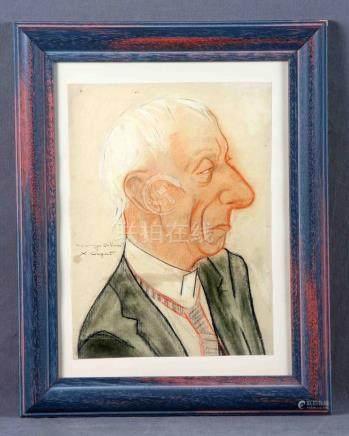 """CUGAT, XAVIER (1900-1990). """"Retrato de su amigo Dillón"""". Dib"""