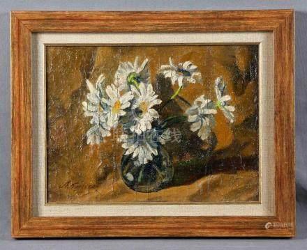 """FERRERAS, ANTONIA (1873-1935). """"Florero"""". Óleo sobre lienzo,"""
