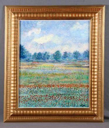 """ARTIGAO, LEOPOLDO (1950). """"Campo de flores"""". Óleo sobre tabl"""