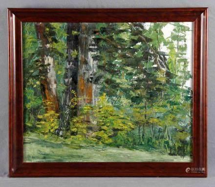 """VÉLEZ, LUIS. """"Bosque"""". Óleo sobre lienzo, de 54x65 cm. Firma"""